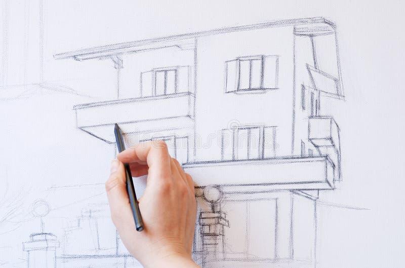 дом чертежа стоковые фотографии rf