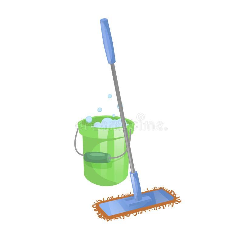 Дом шаржа и значок уборки квартиры Современный пластичный голубой сухой mop с ручкой и зеленым ведром с жидкостью стирки бесплатная иллюстрация