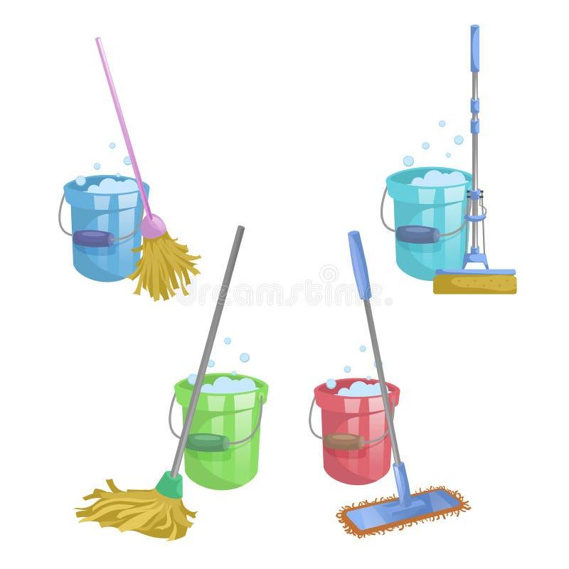 Дом шаржа и комплект значка уборки квартиры Mops с ведром с жидкостью стирки Современный пластичный mop сухого mop старый, sque бесплатная иллюстрация