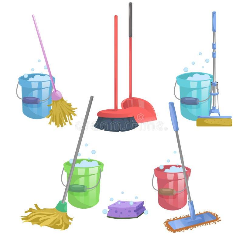 Дом шаржа и комплект значка уборки квартиры Mops с ведром с жидкостью стирки Современный пластичный mop сухого mop старый, sque иллюстрация штока