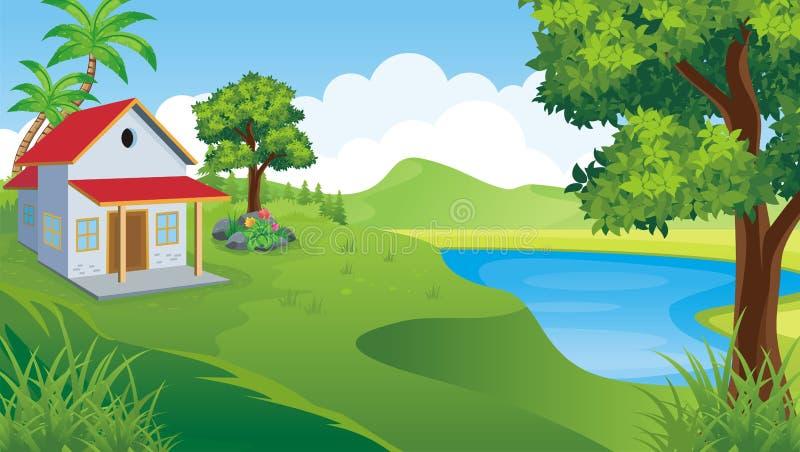 Дом шаржа сладостный, с ландшафтом бесплатная иллюстрация