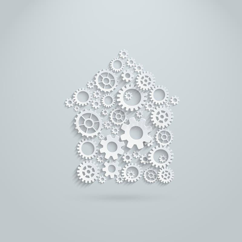 Дом шестерней и cogs вектора механически иллюстрация вектора