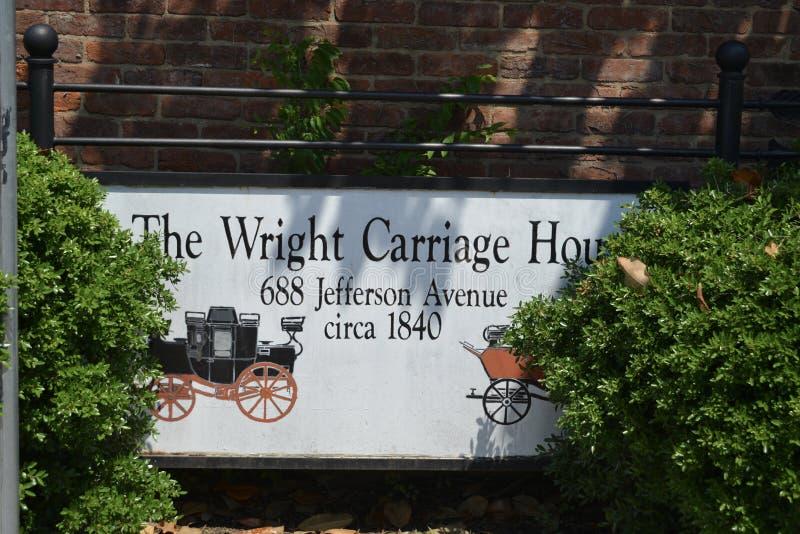 Дом экипажа Wright в исторических центральных садах в Мемфисе, TN стоковые фото