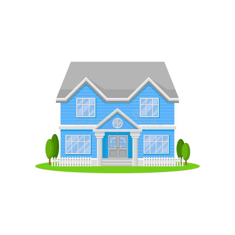 дом 2-этажа с большими входной дверью и окнами Яркий голубой жилой коттедж с серой крышей Симпатичный родной дом иллюстрация вектора