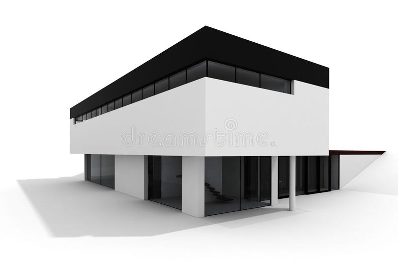 дом 3d изолировала самомоднейшую белизну иллюстрация вектора