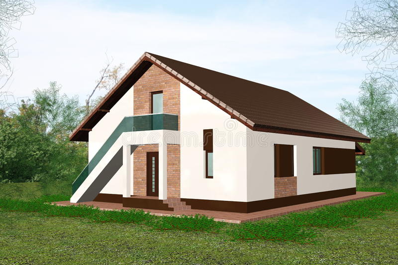 дом 3d представляет стоковые изображения