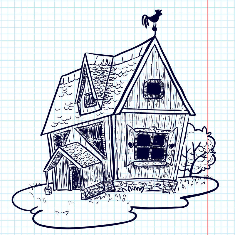 дом doodle иллюстрация вектора