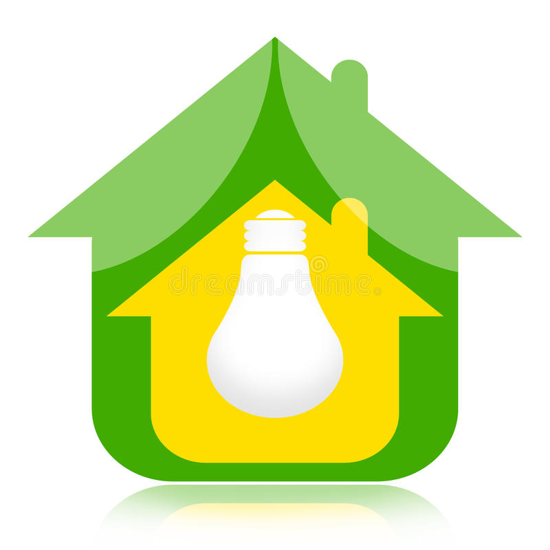 Дом Eco и зеленая энергия иллюстрация штока