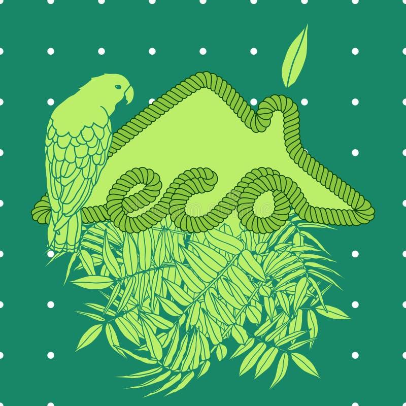 Дом Eco с ладонью и попугаем стоковое изображение rf