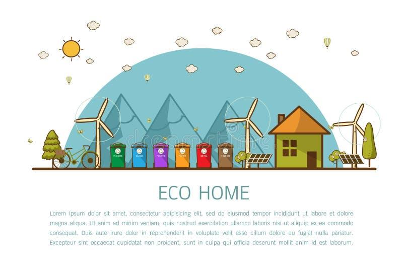 Дом Eco с иллюстрацией вектора ящиков иллюстрация штока