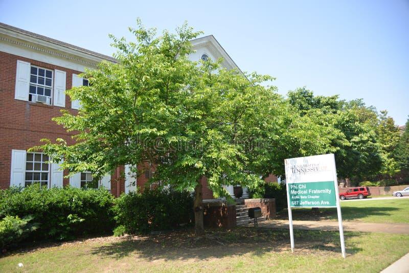 Дом Fraternity на знаке центра науки здоровья UT, Мемфис хиа Phi медицинский, TN стоковые изображения rf