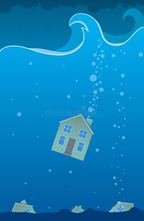 дом sunken иллюстрация штока