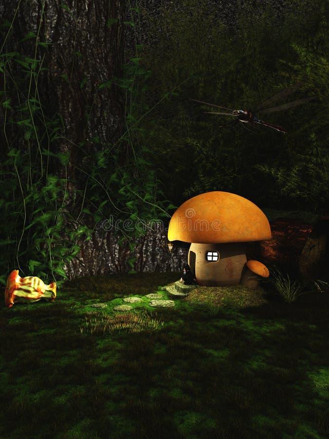 Дом Toadstool гнома в лесе на ноче иллюстрация вектора