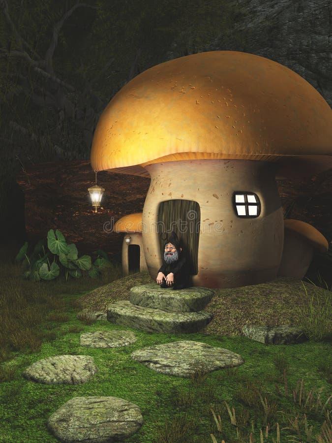 Дом Toadstool гнома в лесе бесплатная иллюстрация