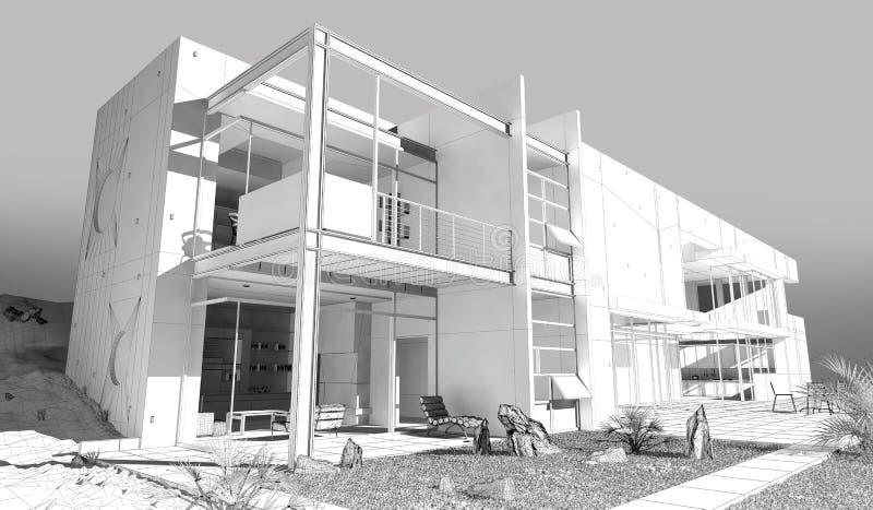 Дом Wireframe иллюстрация вектора