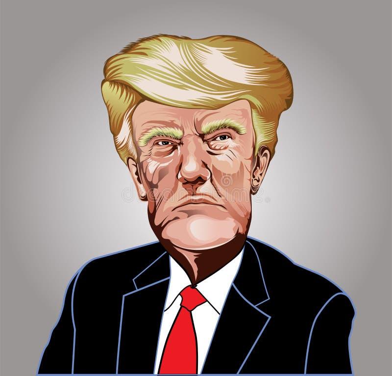 Дональд Трамп изобржает в карикатурном виде харизматическую известную иллюстрацию вектора людей иллюстрация вектора