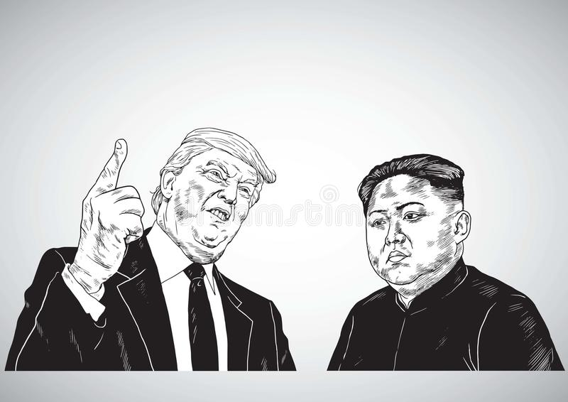 Дональд Трамп против Jong-ООН Ким Иллюстрация чертежа портрета вектора 31-ое октября 2017