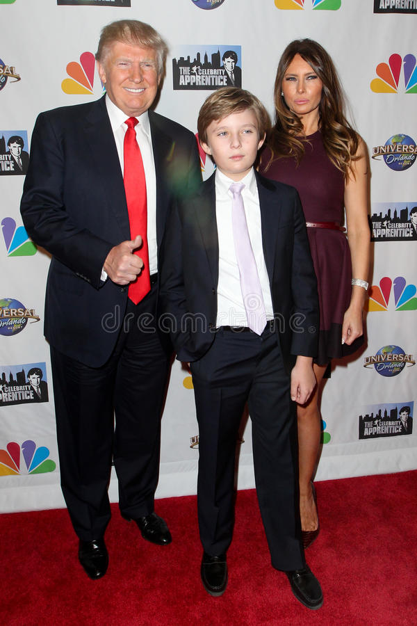 Дональд Трамп, козырь Barron, козырь Melania стоковое изображение rf