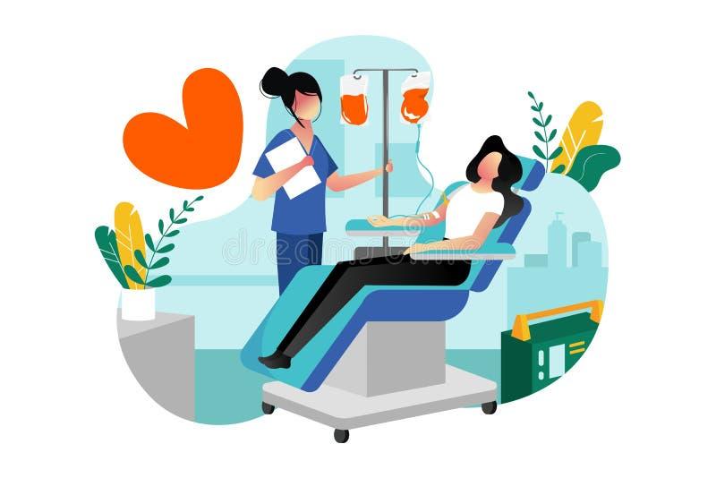Донорство крови, переливание o Добровольный женский даритель даря кровь в лаборатории больницы иллюстрация штока