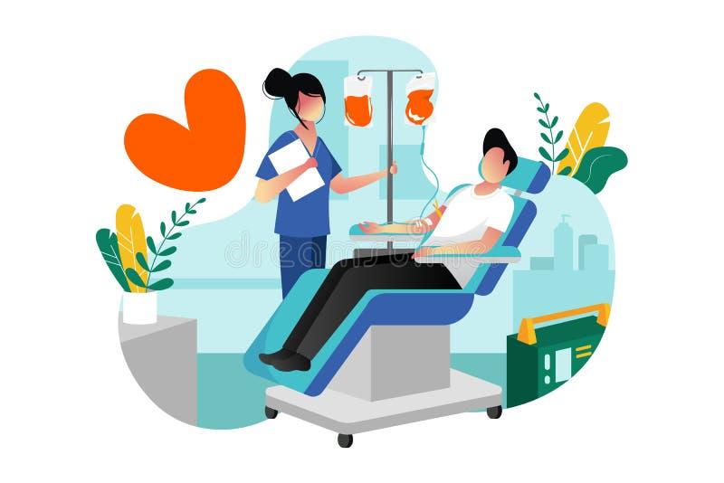 Донорство крови, переливание o Добровольный мужской даритель даря кровь в лаборатории больницы иллюстрация вектора