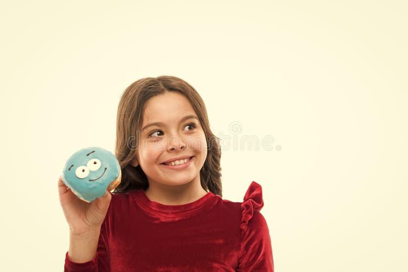 Донут ее сладкая одержимость Уровни сахара и здоровое питание Счастливое детство и сладкие обслуживания Донут ломая диету стоковое изображение rf