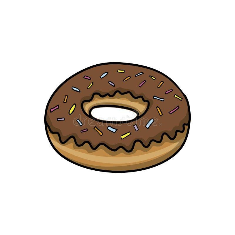 Донут Значок еды Иллюстрация вектора шаржа Doodle иллюстрация вектора