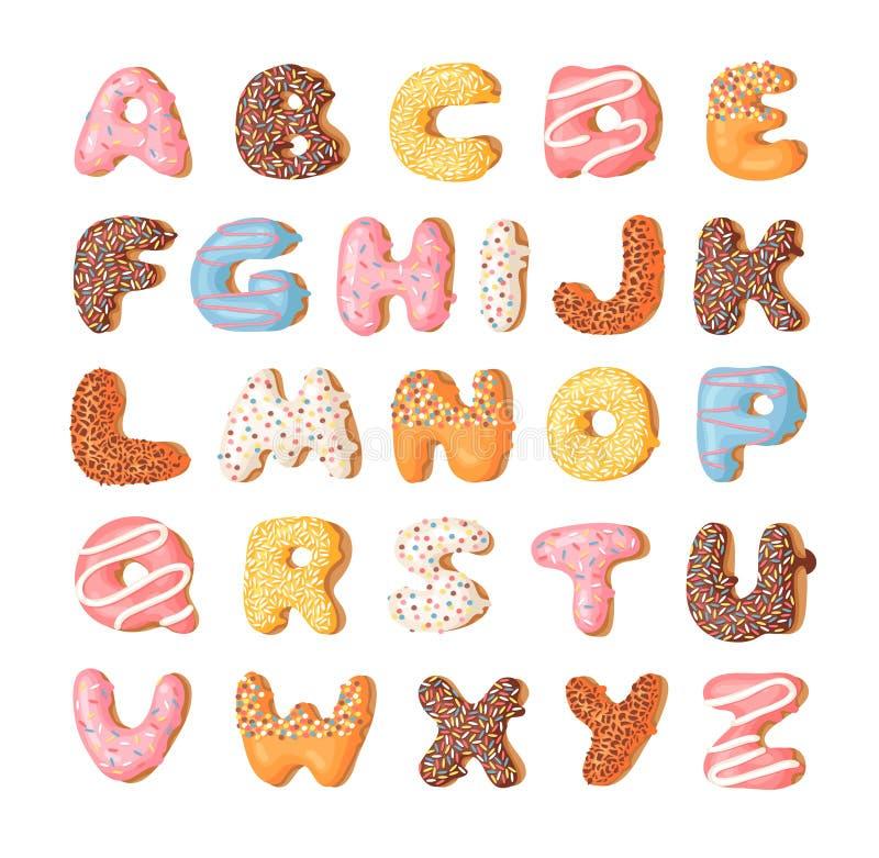 Донут иллюстрации вектора шаржа Шрифт нарисованный рукой с сладостной плюшкой Фактическое творческое искусство печет алфавит иллюстрация вектора