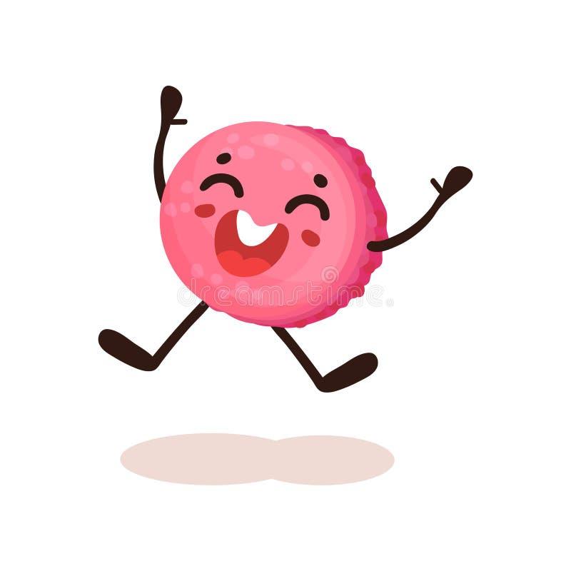 Донут милого пинка застекленный с усмехаясь стороной, смешной humanized иллюстрацией вектора персонажа из мультфильма десерта на  иллюстрация штока