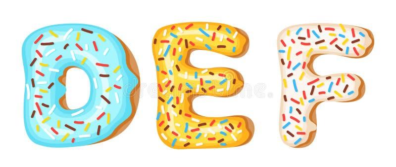Донут морозя верхние latters - d, e, f Шрифт donuts Алфавит пекарни сладкий Latters алфавита донута b c изолировал дальше иллюстрация вектора
