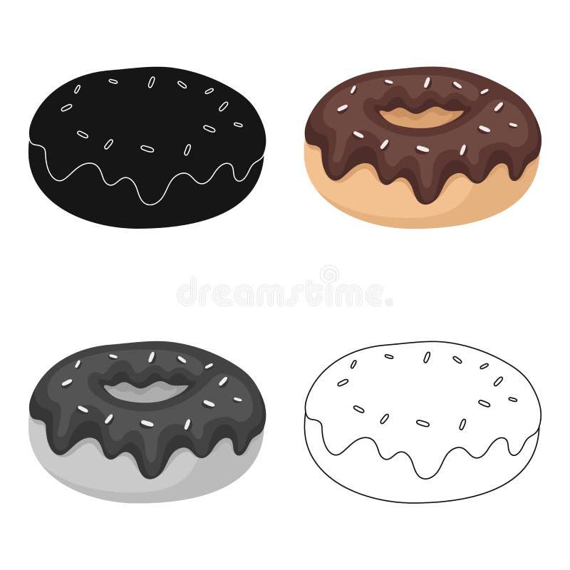 Донут при значок поливы шоколада в стиле шаржа изолированный на белой предпосылке Вектор запаса символа десертов шоколада бесплатная иллюстрация