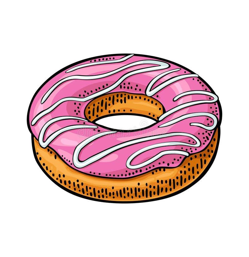 Донут с розовой замороженностью и белыми нашивками Гравировка цвета вектора бесплатная иллюстрация