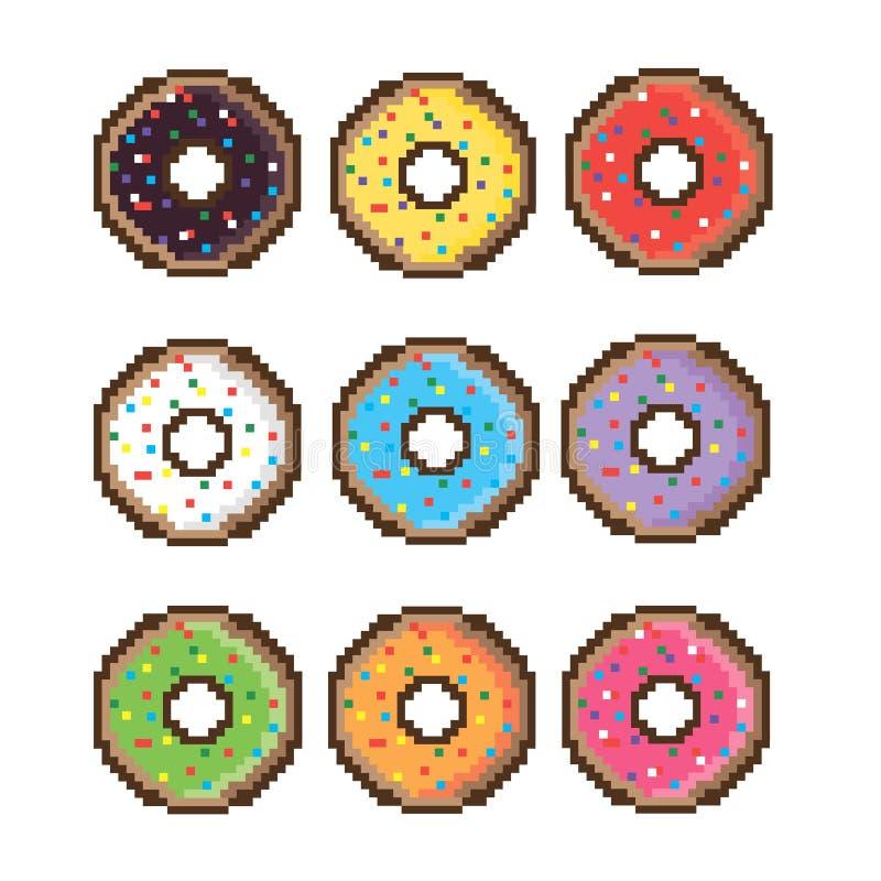 Донут с розовой поливой Значок, иллюстрация вектора Знак донута карамельки с отбензиниванием иллюстрация штока