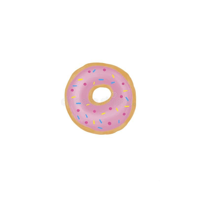 Донут с розовой поливой на белой предпосылке Лоснистый донут с пестротканым брызгает иллюстрация штока