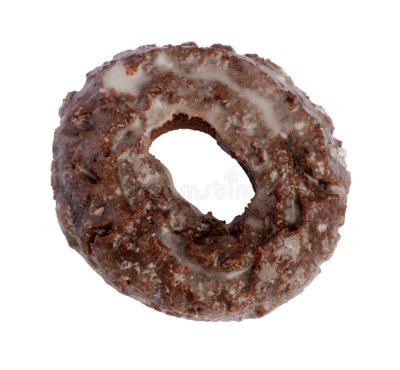 донут шоколада изолированный над белизной стоковые изображения rf
