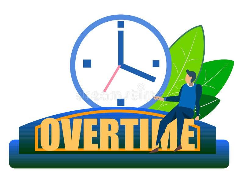 Дополнительное время, неоднозначное Абстрактная концепция, бизнесмен сидит на часах В минималистичном стиле Вектор шаржа плоский иллюстрация вектора