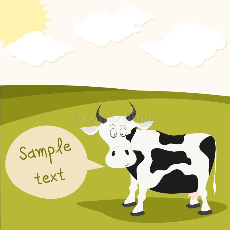 Дорогая корова в лужке бесплатная иллюстрация