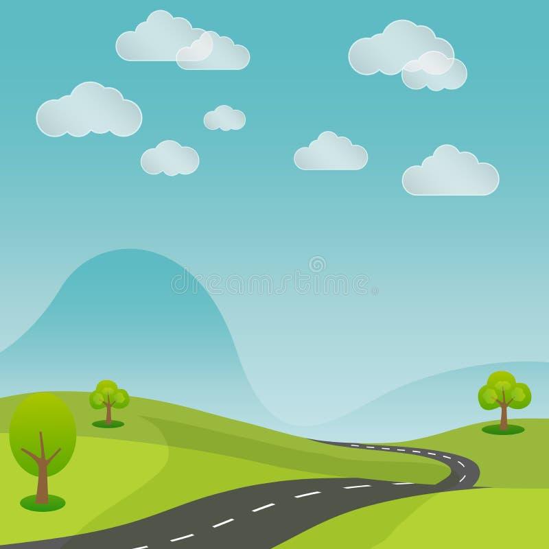 Дорога ландшафта лета сельская с предпосылкой природы бесплатная иллюстрация