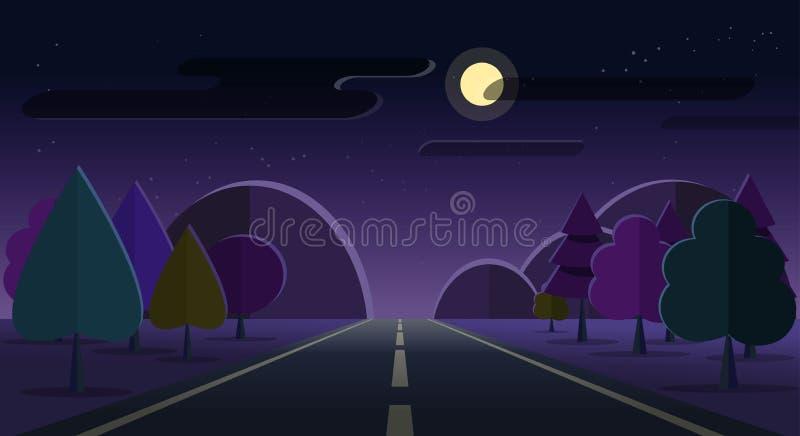Дорога ландшафта природы ночи, горы, облако луны леса играет главные роли небо иллюстрация вектора