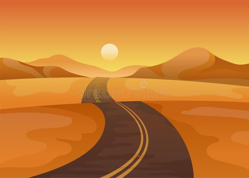 Дорога асфальта в середине пустыни r иллюстрация штока