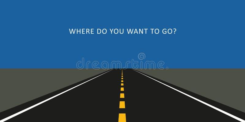 Дорога асфальта где вы хотите пойти бесплатная иллюстрация