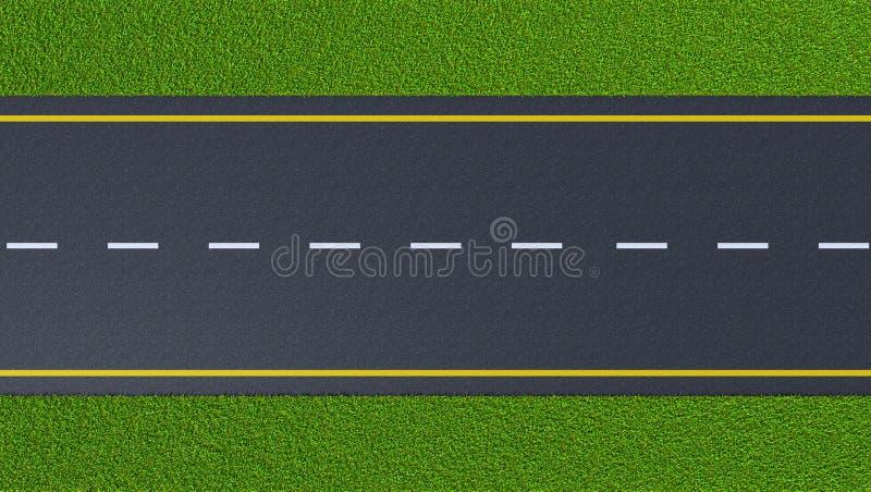 Дорога асфальта на зеленой лужайке иллюстрация штока