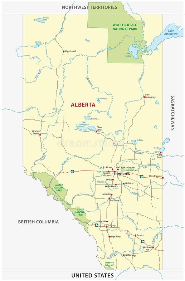 Дорога Альберты и карта национального парка иллюстрация штока