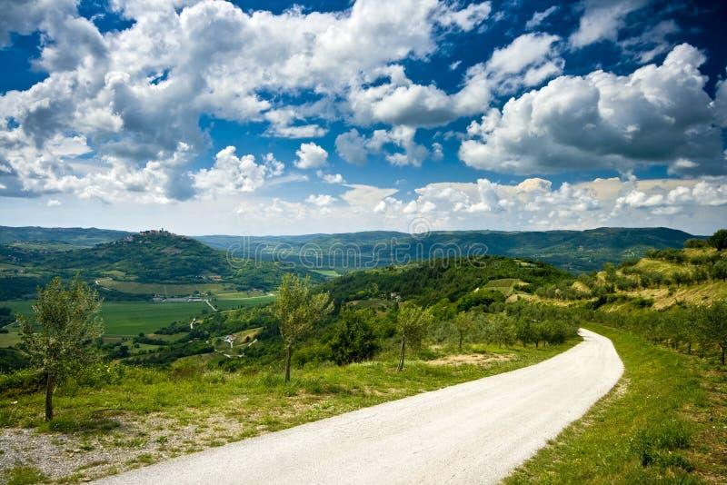 дорога близкого motovun панорамная к взгляду стоковое изображение
