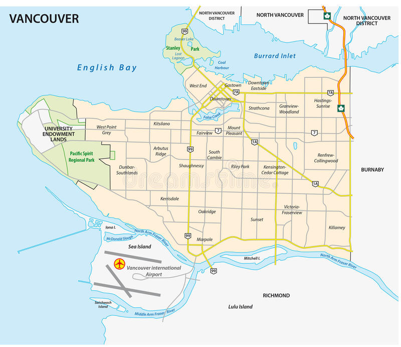 Дорога Ванкувера и карта nighborhood иллюстрация вектора