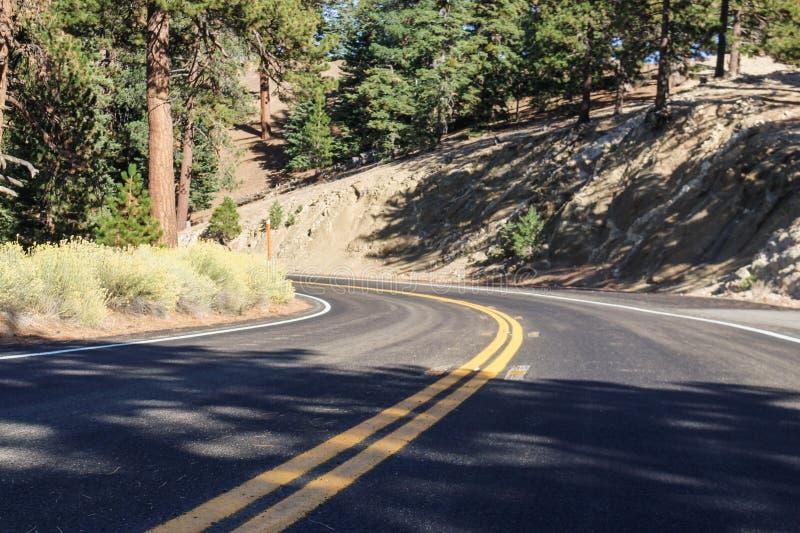 Дорога верхней части горы открытая окруженная деревьями стоковое изображение