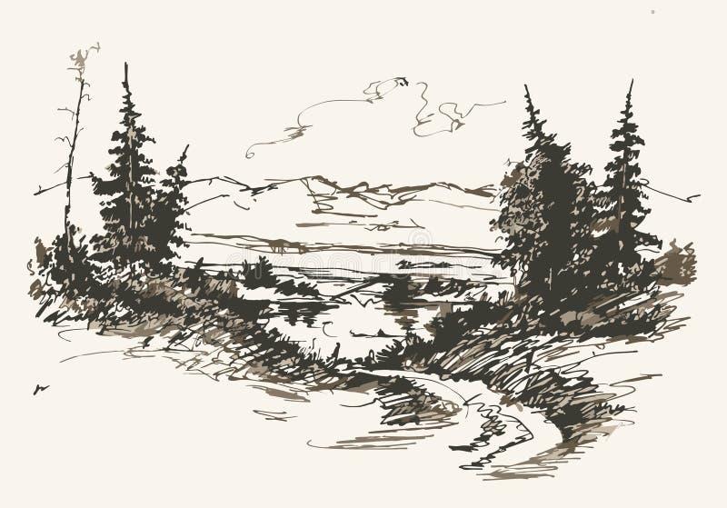 Дорога в горах иллюстрация вектора