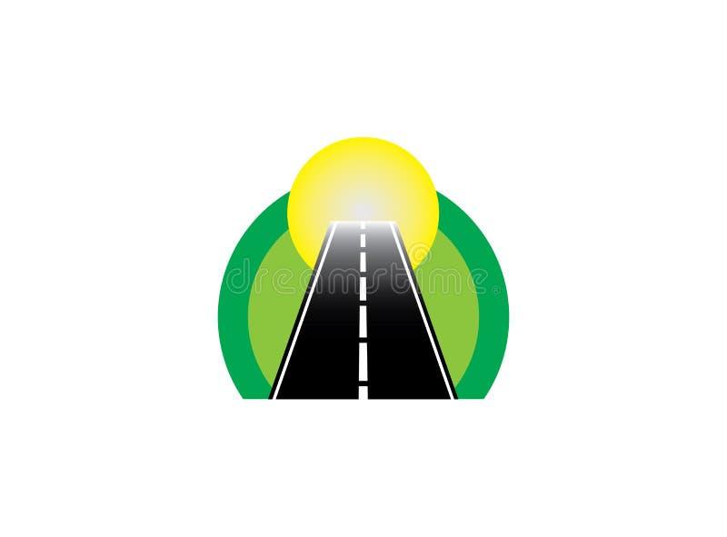 Дорога в круге на зеленом естественном пути и направлении к солнцу для дизайна логотипа иллюстрация вектора