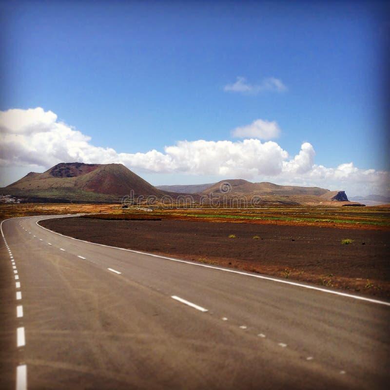 Дорога в Лансароте стоковая фотография rf