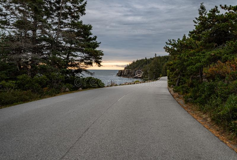 Дорога в национальном парке Acadia стоковые фотографии rf