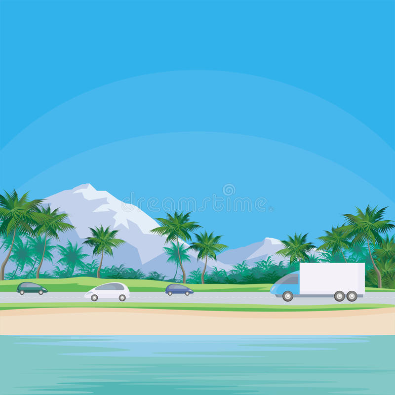 Дорога вдоль моря бесплатная иллюстрация